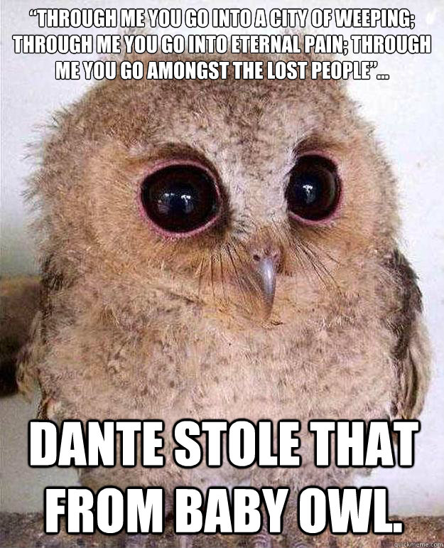 """""""Through me you go into a city of weeping; through me you go into eternal pain; through me you go amongst the lost people""""... Dante stole that from Baby Owl."""