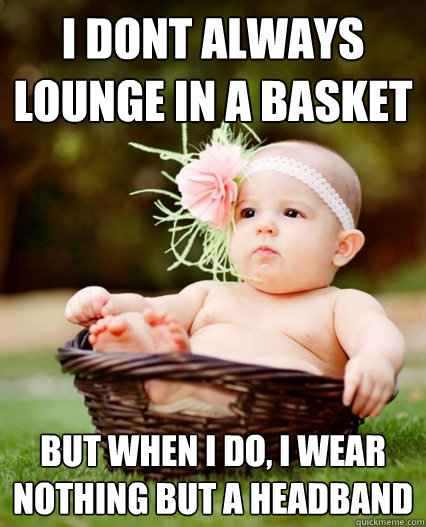 I dont always lounge in a basket but when I do, I wear nothing but a headband - I dont always lounge in a basket but when I do, I wear nothing but a headband  Misc