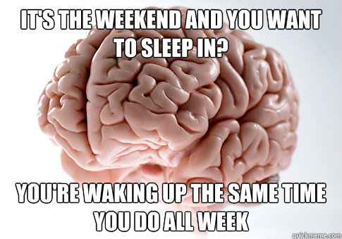 IT's the weekend and you want to sleep in? you're waking up the same time you do all week - IT's the weekend and you want to sleep in? you're waking up the same time you do all week  Scumbag Brain