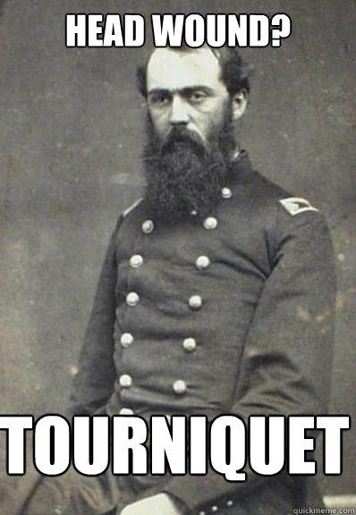 Head wound? tourniquet  Civil War Doctor