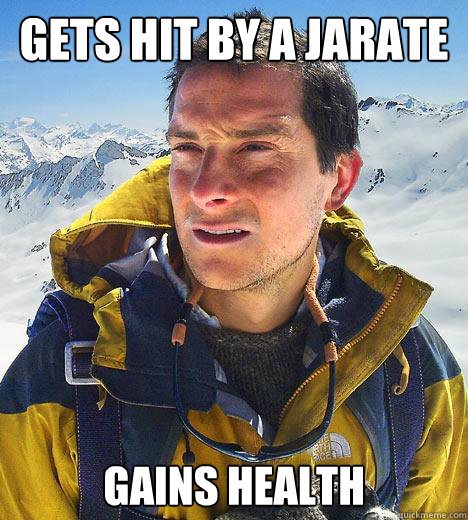 Gets hit by a jarate gains health  Bear Grylls
