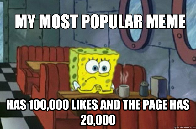 My most popular meme has 100,000 likes and the page has 20,000  Sad Spongebob