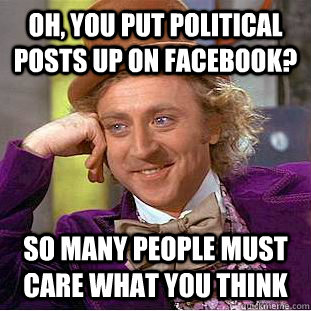 Oh, You put political posts up on facebook? So many people must care what you think  Condescending Wonka