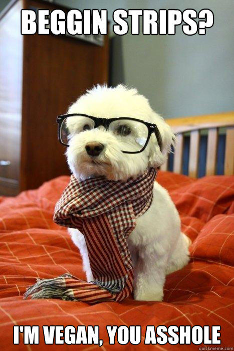Beggin Strips? I'm vegan, you asshole  Hipster Dog