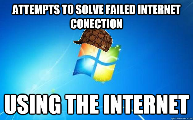 attempts to solve failed internet conection  using the internet