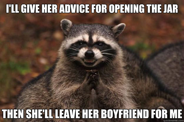 I'll give her advice for opening the jar then she'll leave her boyfriend for me - I'll give her advice for opening the jar then she'll leave her boyfriend for me  Evil Plotting Raccoon