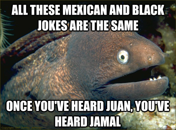 All these mexican and black jokes are the same once you've heard juan, you've heard jamal - All these mexican and black jokes are the same once you've heard juan, you've heard jamal  Bad Joke Eel