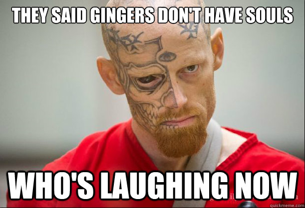 They said gingers don't have souls Who's laughing now - They said gingers don't have souls Who's laughing now  Serial Ginger
