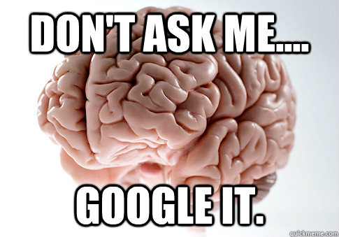 Don't ask me.... Google it. - Don't ask me.... Google it.  Scumbag Brain