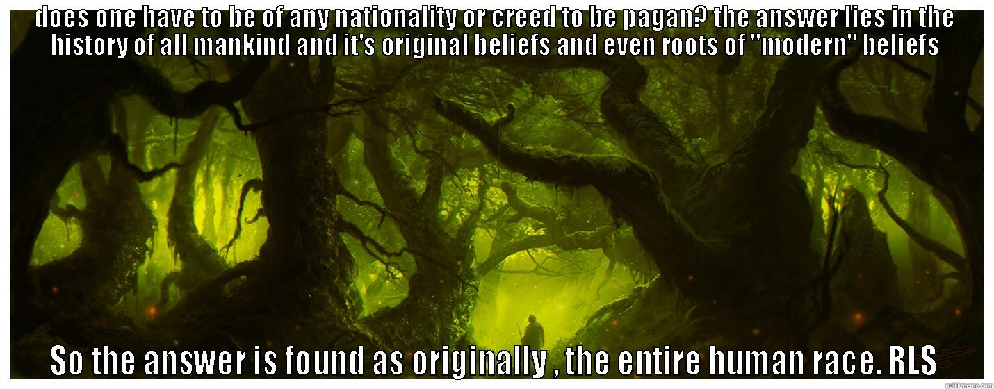 the pagan (meme superimposed on painting pagan forest by Dominus
