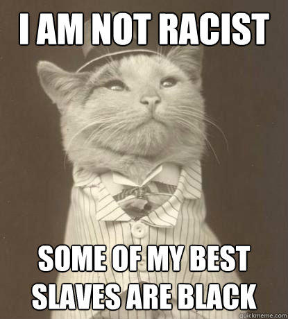 I am not racist Some of my best slaves are black - I am not racist Some of my best slaves are black  Aristocat