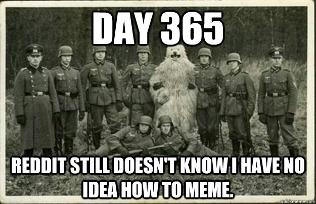 Day 365 Reddit still doesn't know I have no idea how to meme. - Day 365 Reddit still doesn't know I have no idea how to meme.  blending in