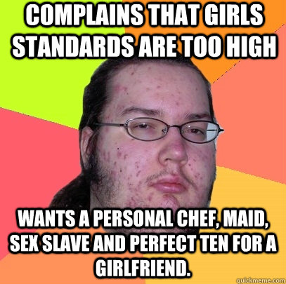 Complains that Girls standards are too high Wants a personal chef, maid, sex slave and perfect ten for a girlfriend. - Complains that Girls standards are too high Wants a personal chef, maid, sex slave and perfect ten for a girlfriend.  Butthurt Dweller