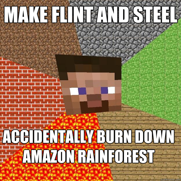 make flint and steel accidentally burn down amazon rainforest - make flint and steel accidentally burn down amazon rainforest  Minecraft