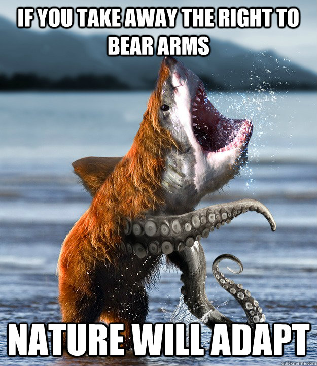 daea79429a53ab38b93bf96e9e74f6f32bbe66a17f2ead689c081938611f15de if you take away the right to bear arms nature will adapt,The Right To Bear Arms Meme