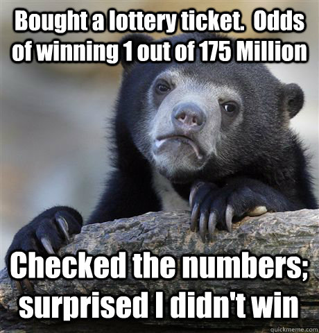 Bought a lottery ticket.  Odds of winning 1 out of 175 Million Checked the numbers; surprised I didn't win  Confession Bear
