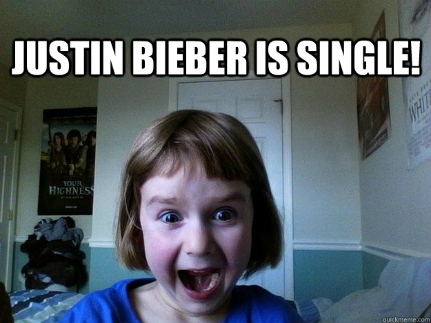 justin bieber is single! - justin bieber is single!  Excited little girl