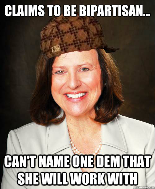 Claims to be bipartisan... Can't name one Dem that she will work with