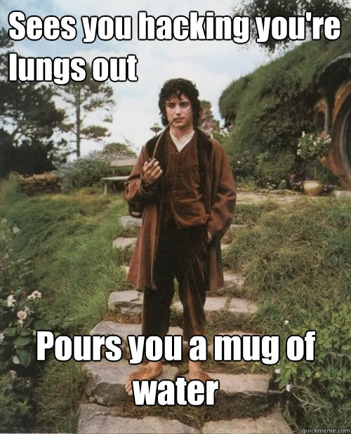 Sees you hacking you're lungs out Pours you a mug of water - Sees you hacking you're lungs out Pours you a mug of water  Good Guy Frodo