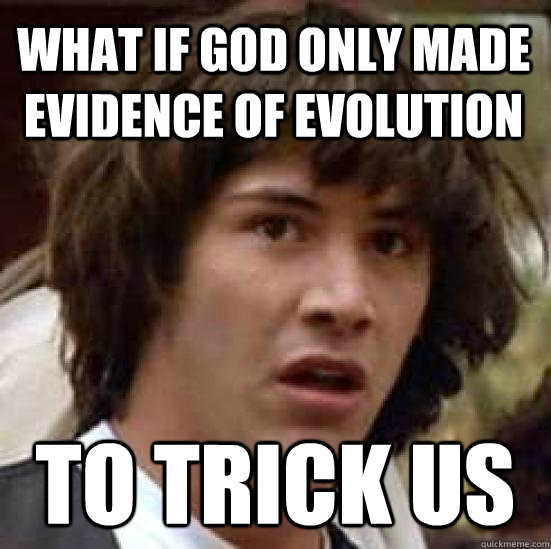 WHat if god only made evidence of evolution  to trick us  conspiracy keanu