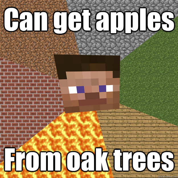 Can get apples From oak trees  Minecraft logic updated