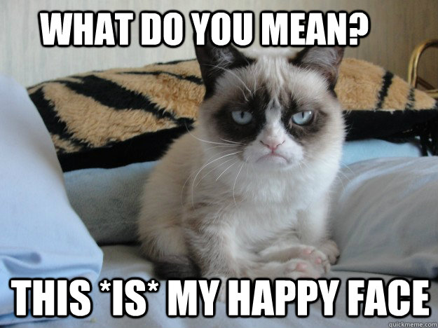 Funny Meme Mean : What do you mean this is my happy face grumpy cat ii