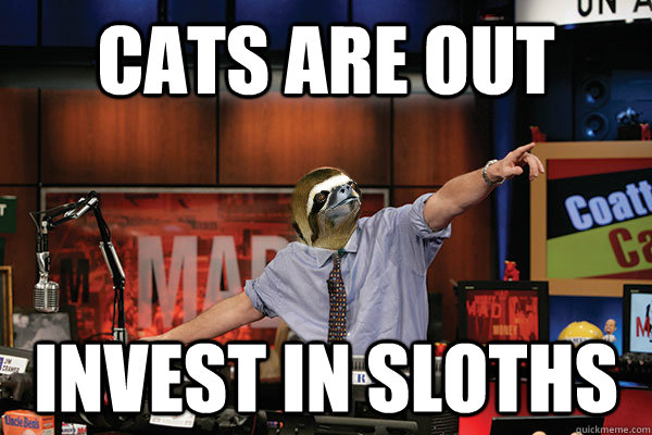 Cats are out Invest in sloths  Mad Karma with Jim the Sloth