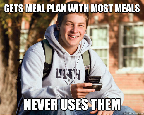 gets meal plan with most meals never uses them - gets meal plan with most meals never uses them  College Freshman