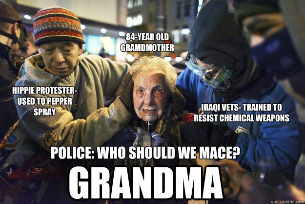 Hippie protester- used to pepper spray Iraqi Vets- trained to resist chemical weapons 84-year old Gramdmother Police: Who should we mace?  grandma