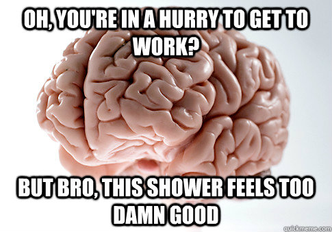 OH, YOU'RE IN A HURRY TO GET TO WORK? BUT BRO, THIS SHOWER FEELS TOO DAMN GOOD  - OH, YOU'RE IN A HURRY TO GET TO WORK? BUT BRO, THIS SHOWER FEELS TOO DAMN GOOD   Scumbag Brain