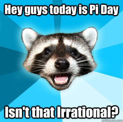 Hey guys today is Pi Day Isn't that Irrational? - Hey guys today is Pi Day Isn't that Irrational?  Lame Pun Coon