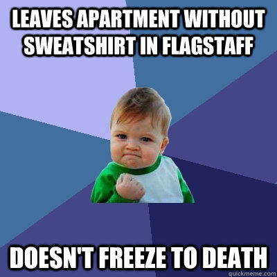 Leaves apartment without sweatshirt in Flagstaff doesn't freeze to death - Leaves apartment without sweatshirt in Flagstaff doesn't freeze to death  Success Kid