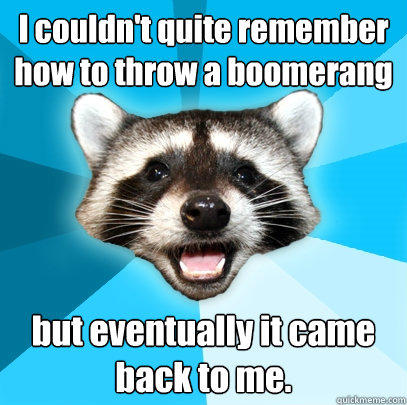 I couldn't quite remember how to throw a boomerang but eventually it came back to me. - I couldn't quite remember how to throw a boomerang but eventually it came back to me.  Lame Pun Coon