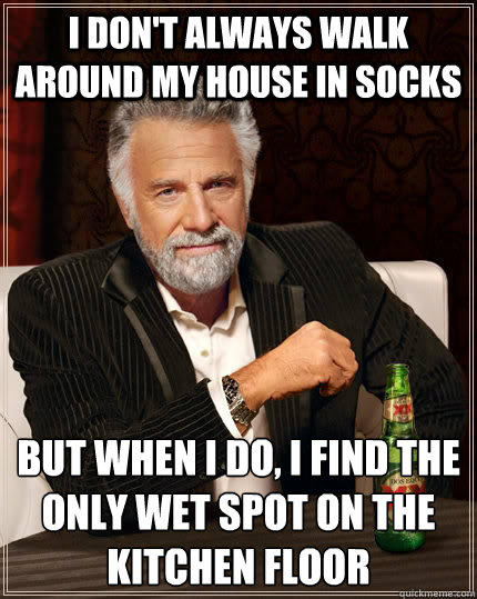 I don't always walk around my house in socks but when I do, i find the only wet spot on the kitchen floor - I don't always walk around my house in socks but when I do, i find the only wet spot on the kitchen floor  The Most Interesting Man In The World