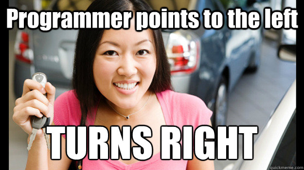 Programmer points to the left TURNS RIGHT  Female Asian Driver