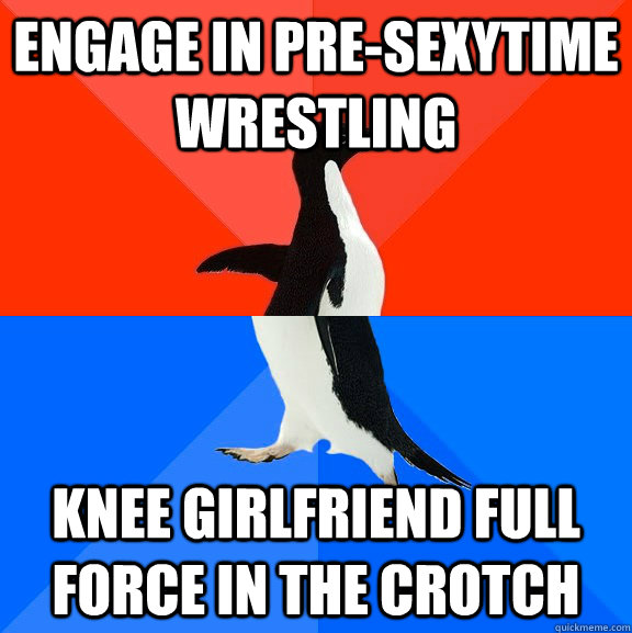 Engage in pre-sexytime wrestling Knee girlfriend full force in the crotch - Engage in pre-sexytime wrestling Knee girlfriend full force in the crotch  Socially Awesome Awkward Penguin