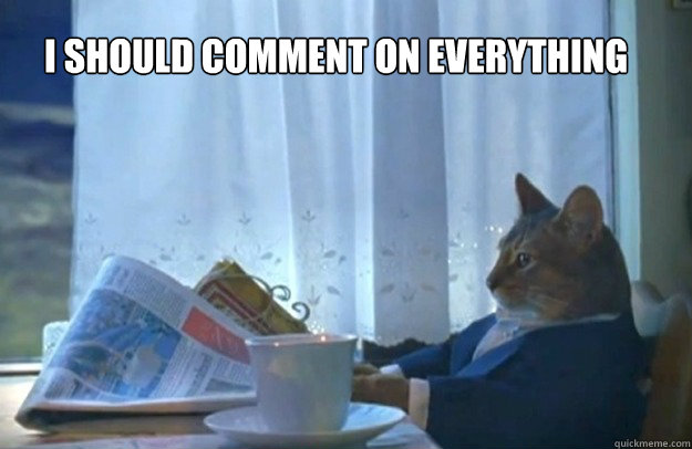 I should comment on everything - I should comment on everything  Sophisticated Cat