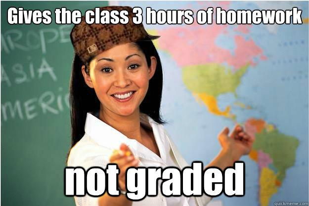 Gives the class 3 hours of homework not graded - Gives the class 3 hours of homework not graded  Scumbag Teacher