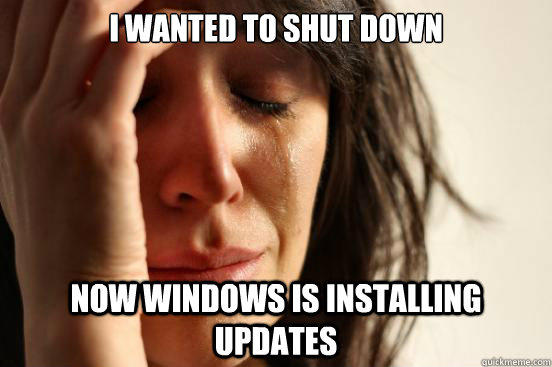 I wanted to shut down now windows is installing updates - I wanted to shut down now windows is installing updates  First World Problems