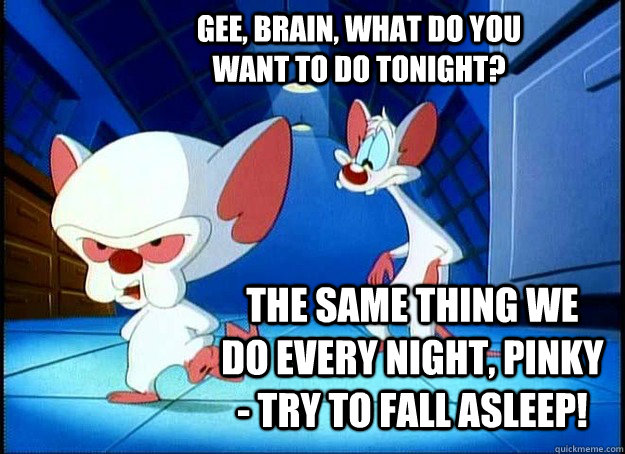 Gee, Brain, what do you want to do tonight? The same thing we do every night, Pinky - try to fall asleep! - Gee, Brain, what do you want to do tonight? The same thing we do every night, Pinky - try to fall asleep!  Pinky and the Brain