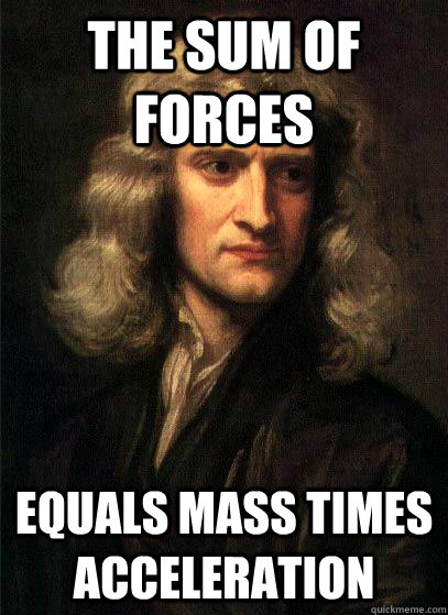 the sum of forces equals mass times acceleration  Sir Isaac Newton