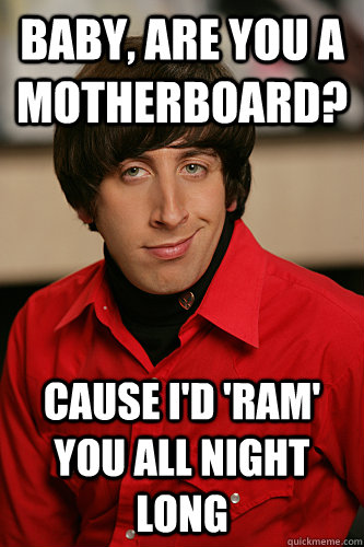 Baby, are you a motherboard? Cause I'd 'ram' you all night long - Baby, are you a motherboard? Cause I'd 'ram' you all night long  Howard Wolowitz