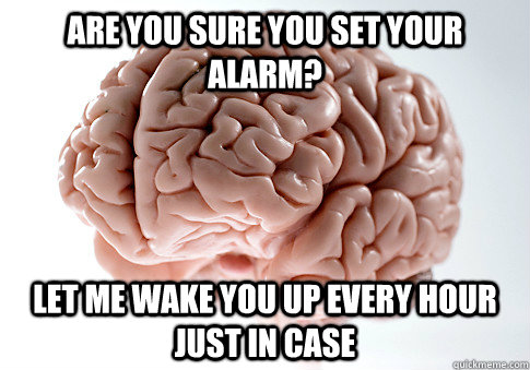 Are you sure you set your alarm? Let me wake you up every hour just in case - Are you sure you set your alarm? Let me wake you up every hour just in case  Scumbag Brain
