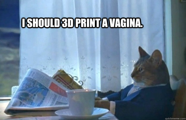 I should 3D print a vagina.  - I should 3D print a vagina.   Sophisticated Cat