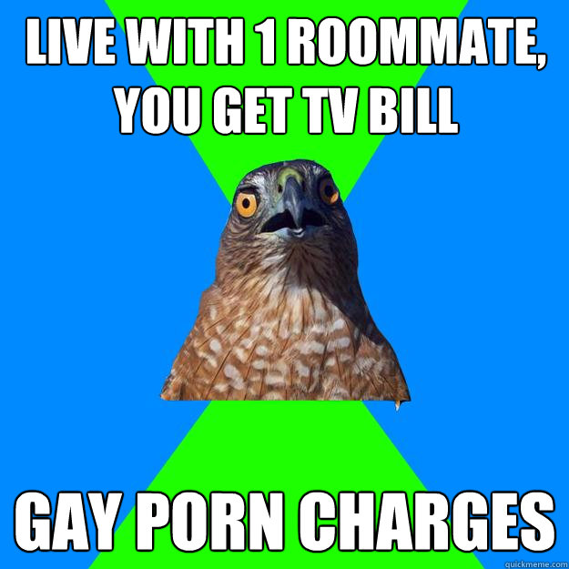 live with 1 roommate, you get tv bill gay porn charges - live with 1 roommate, you get tv bill gay porn charges  Hawkward