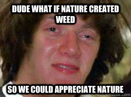 Dude what if nature created weed so we could appreciate nature
