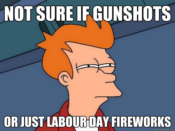Not sure if gunshots Or just labour day fireworks - Not sure if gunshots Or just labour day fireworks  Futurama Fry