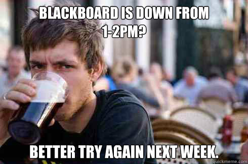 Blackboard is down from  1-2pm? better try again next week. - Blackboard is down from  1-2pm? better try again next week.  Misc