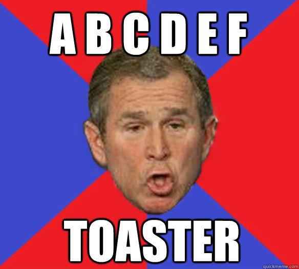 a b c d e f toaster