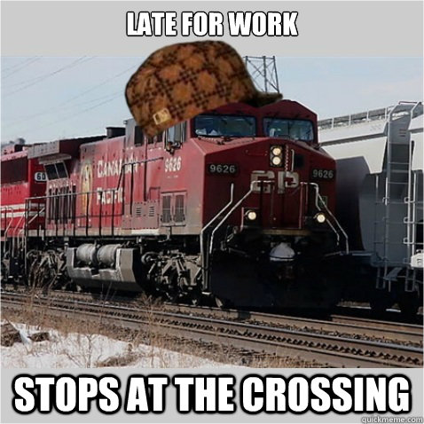 late for work stops at the crossing